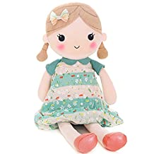 Gloveleya Spring Girl Wear Green Floral Dress Baby Stuffed Cloth Dolls Kids Plush Toys 16.5''