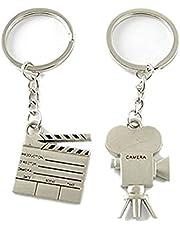 pinjewelry Lovers Couple Film Clapper Camera Pendants Keyring Bag Car Keychain Key Ring