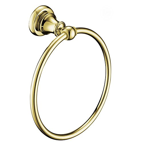 Comfort's Home G16502 Wall Mounted Bathroom Towel Ring, Brass-gold