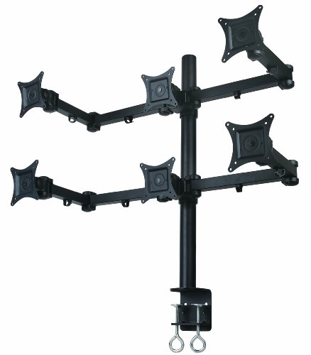"Mount-It! Hex LCD Monitor Mount Stand for 6 Monitors, Heavy-Duty Desk Mount for 21"" Screen Sizes or Less, Articulating Arms, C-Clamp, Black, MI-756"