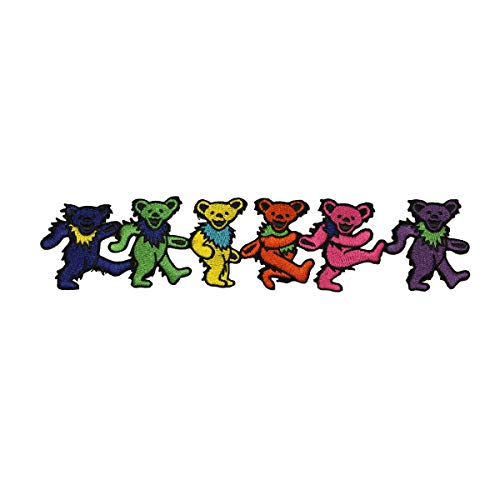 9 Inch Grateful Dead Rainbow Dancing Marching Bears Strip Iron On Applique -