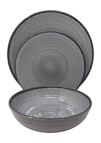 Gianna's Home 12 Piece Modern Melamine Heavyweight Plastic Dinnerware Set (Gray)