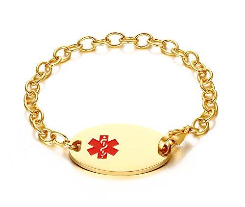 VNOX Free Engraving 18K Gold Plated Stainless Steel Medical Alert ID Bracelet 8.3'' by VNOX