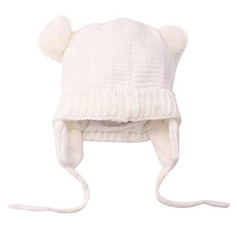 Longra Bébé Chapeaux Fille Garçon Hiver Chaud Crochet Tricoter Chapeau  Echarpe Calotte Chapeau Bonnet Casquette Enfants 67d3ba46966