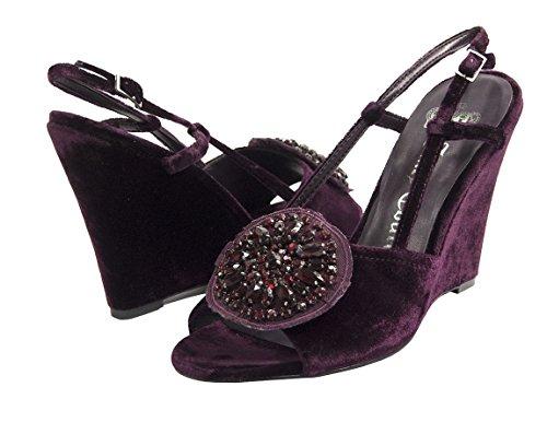 Juicy Heel Platform Sandal (Juicy Couture Black Label Nightingale Victoire Jeweled Wedge Heels Size 8)