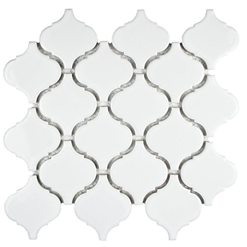 SomerTile FDXMLGW Retro Beacon Porcelain Floor and Wall Tile, 9.75'' x 10.25'', White by SOMERTILE