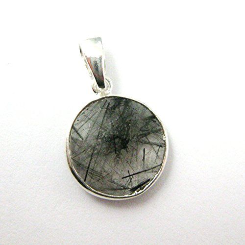 Bezel Gem Pendant with Bail- Black Rutilated Quartz -Sterling Silver Round Coin Faceted Gemstone ()