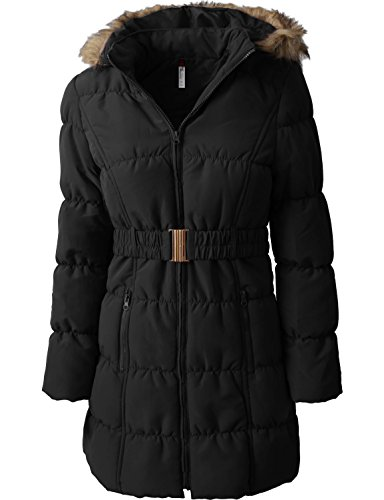 Hat and Beyond Womens Quilted Puffer Jackets Detachable Faux Fur Hood Lightweight Zip up Belted Coats (Medium, Gj1134_Black)