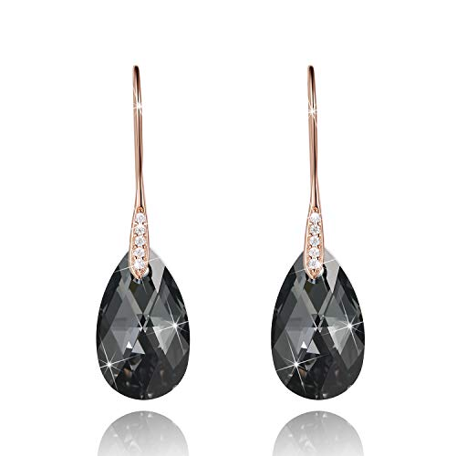 Black Crystal Earrings For Women, Ladies Friends Sterling Silver Hypoallergenic Drop Earring Jewelry (Rose Gold Cubic Zirconia)