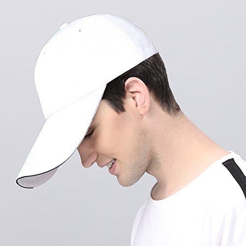 Sandwich blanc M55-59cm GUYOULY Long Hat Casquette de Baseball Hommes Chapeau été Tête Solaire Soleil Chapeau Long Chapeau Extérieur Pur Noir Chapeau Femelle