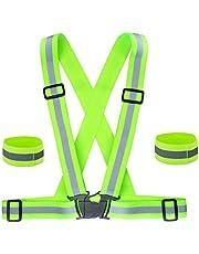 Hoge Zichtbaarheid Reflecterende Vest en Draagbare Riem Armbanden, Verstelbare Running Gear Veiligheidsvest en Polsband voor Outdoor Hardlopen, Fietsen, Wandelen, Wandelen en Motorrijden