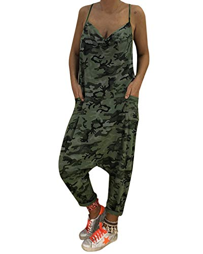 Auxo Women Jumper Harem Jumpsuit Spaghetti Strap Camo Romper One Piece Playsuit 4th of July Outfits with Pockets Z-Army Green 2XL