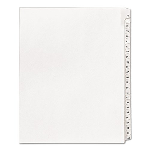 Index Exhibit Divider 100 - Avery Legal Dividers, Allstate Collated Sets, Letter Size, Side Tab, 76-100 Tab Set (01704)