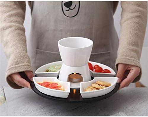 BuyBuyBuy Service à Fondue Blanc Céramique Porcelaine Photophore Bougie Fromage Beurre Chocolat à Fondue 300ML