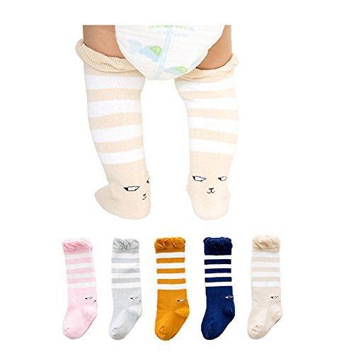 Joylish 5 Pairs Baby Knee High Socks for Girls Boys - Unisex Newborn Stockings Cotton (S: 0-12M)