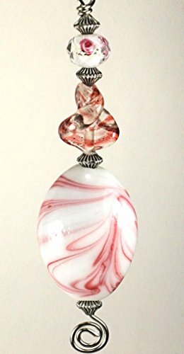 Pink Candy Swirl Lampwork Glass Bead Fan Pull Chain/Light Pull