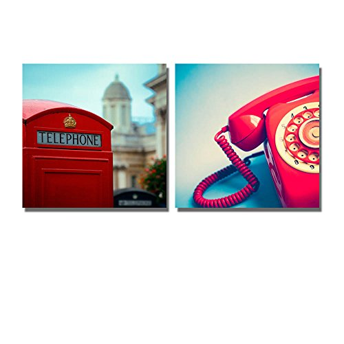 Retro Style Vintage Red Telephone and Telephone Booth Wall Decor ation x 2 Panels