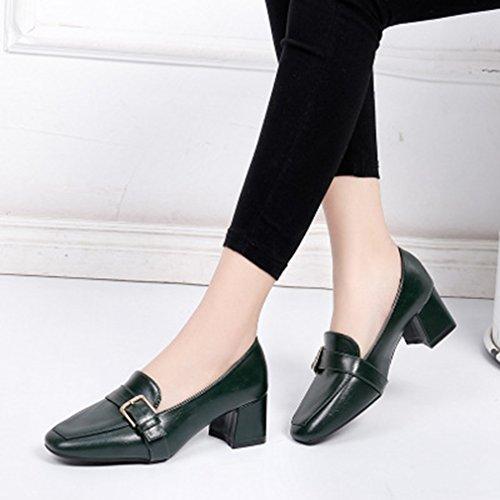 ... Giy Kvinners Klassisk Firkantet Tå Pumper Loafers Komfort Slip-on  Spenne Blokk Hæl Casual Kjole