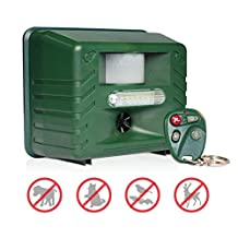Animal Repeller Ultrasonic, Aspectek Yard Sentinel RC, Sound Frequency: 15kHz-20kHz - Cat Repellent with Motion Detector, 4 Key Remote, Strobe & New Sonic harassment & Predator Sound Scare Repel Dog Cat Pets Birds Raccoons Deer