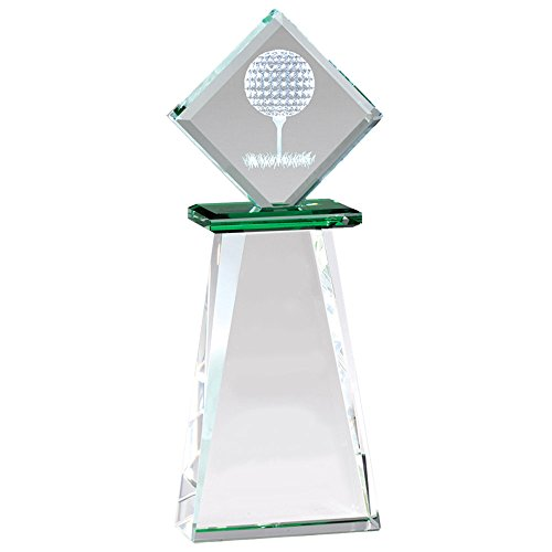 Awards and Gifts R Us Customizable 9-1/2 x 3-1/2 Inch Optical Crystal Golf Tower Trophy, Includes Personalization ()