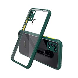 AE Mobile Accessories Back Cover for Samsung M31 / Galaxy F41, Miqilin Series Tranparent Shock Proof Smooth Rubberized Matte Hard Back Cover (Dark Green)