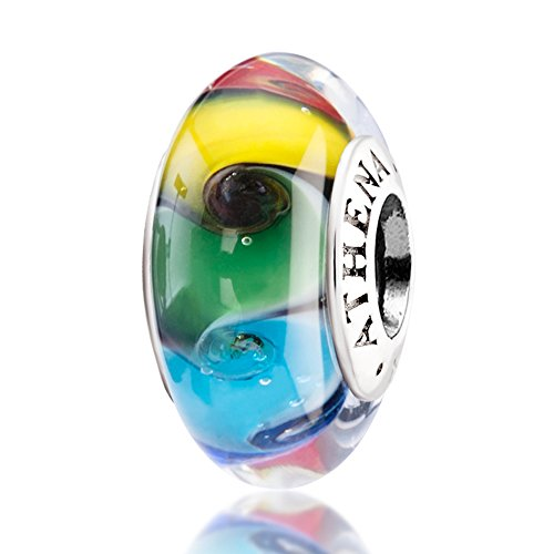 Silver Swirl Charm - ATHENAIE Murano Glass 925 Silver Core Colored Swirl Charms Bead