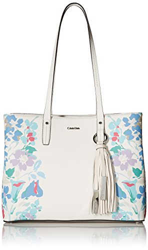 Calvin Klein womens Calvin Klein Maggie Printed Saffiano East/West Tote, floral white, One Size