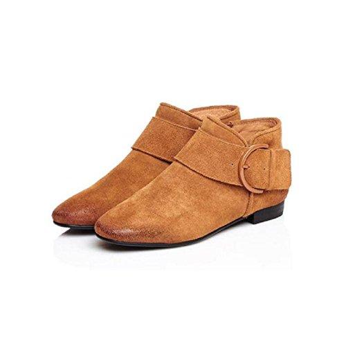 Casuale semplice tubo corto stivali nuda pelle tornito smerigliato temperamento pelle femminile stivali scarpe , 36 BROWN-34