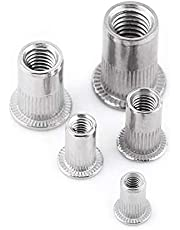 20Pcs Flat Head Metric Threaded Blind Rivet Nut,M3 M4 M5 M6 M8 Insert Rivnut Nutsert Screw Stainless Steel (M5)