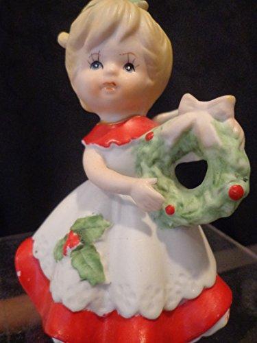 HOMCO Christmas Girl Figurine HOMCO Christmas Angel with Wreath, Homco 5402