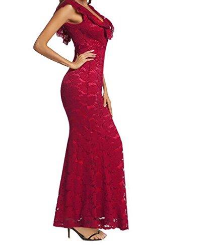 HEFEI Vestido Formal de Encaje de Sirena Sexy con Hombros Descubiertos para Mujer XIAOXIAO (Color : Rojo, tamaño : S)