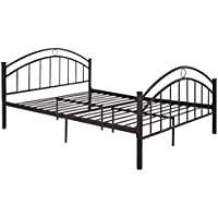 Giantex Black Queen Size Metal Bed Frame Mattress Platform Headboard Bedroom Furniture