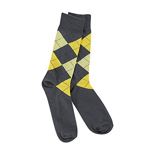 (Crescent Sock Co Mens Transit Crew Socks (Charcoal Yellow Argyle))