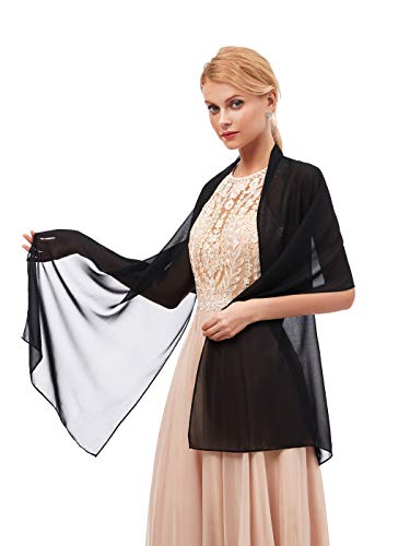 - Women's Fashion Chiffon Wraps Scarve Shawls for Bridal Evening Party Black