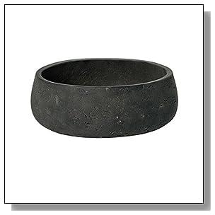 Low Planter Pot Fiberstone Elegant Black Washed 4