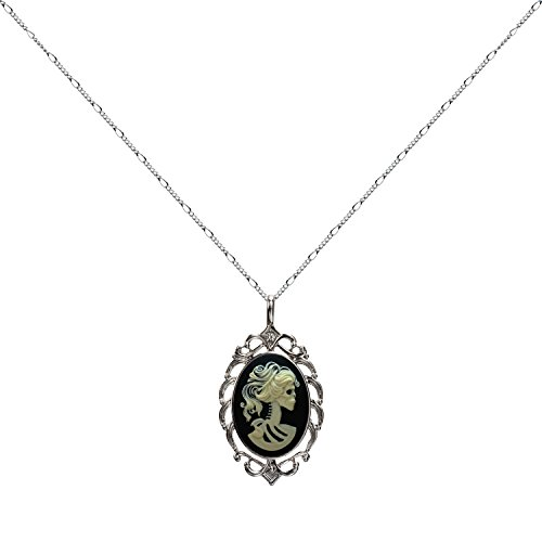 Skull Skeleton Necklace Best Friend Pendant Small Cameo Jewelry 18