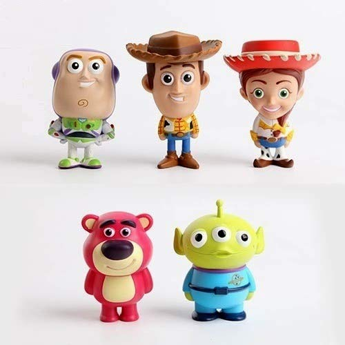 PAPRING Set 5 Toy Toys Action Figure 2.7 inch Hot PVC Figures Buzz Lightyear Sheriff Woody Jessie Small Model Mini Doll Christmas Halloween Birthday Gifts Cute Animal Collection Collectible for Kids -