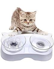Bangcool Comederos Gatos Doble Transparente,Cuenco Elevado para Alimentos Comedero Gato Elevado Comedero para Perros Y Gatos Transparente Adecuado para Gatos Y Perros Pequeños
