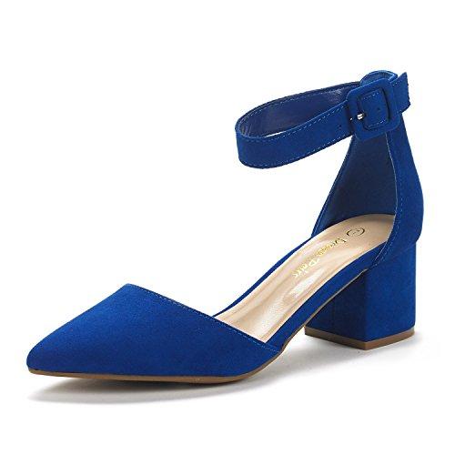DREAM PAIRS Women's Annee Royal Blue Low Heel Pump Shoes - 9.5 M US -
