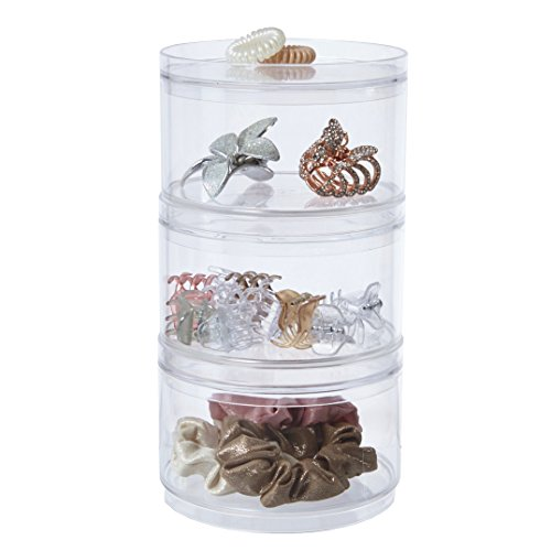 STORi 3-Pack Stackable Clear Plastic Hair Accessory Containers with Lids