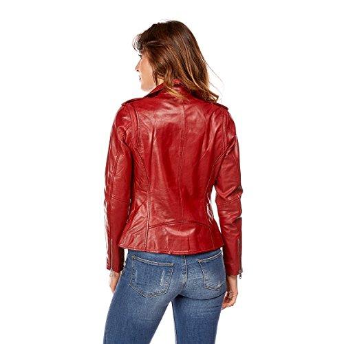Cuir Femme DKS Rouge en Blouson RxnUg