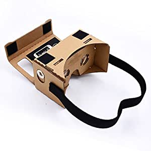 Linkcool Cardboard 3d Vr Virtual Reality Headset DIY 3D Glasses with NFC Tag and Headband,Compatible with 3-6inch Screen Android and Apple Smartphone HD Visual Experience - google cardboard kit