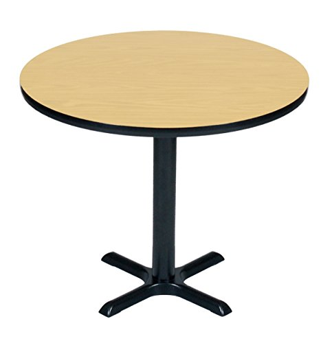(Correll BXT30R-16 Fusion Maple Top and Black Base Round Bar, Café and Break Room Table, 30
