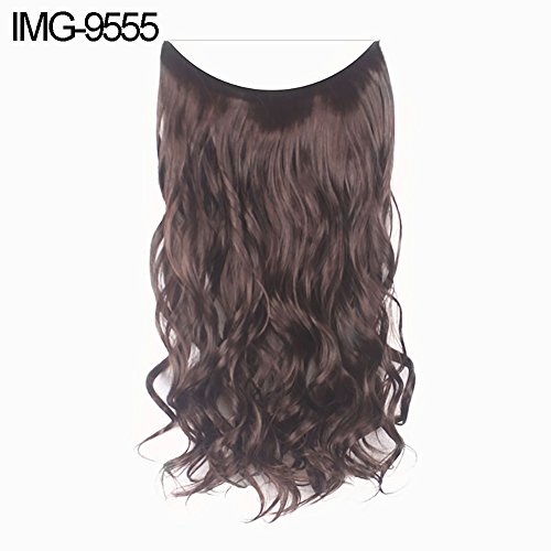 xxiaoTHAWxe Fish Line Natural Fiber Hairpiece Hair Extension Long Women Curly Straight Wig - IMG-9555 ()