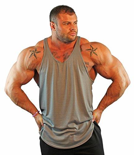 Physique Bodyware Men's No Logo Y Back Stringer Tank Top. Made In America (Large, - Custom Tri Tops