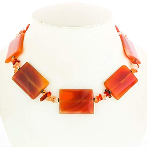 Opulent Carnelian Gemstone Beads 925 Sterling Necklace YE-376