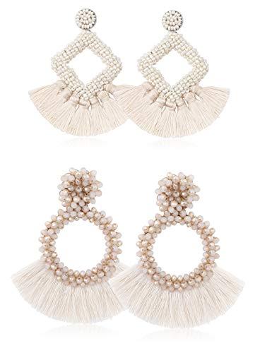 LOLIAS 2 Pairs Tassel Earrings for Women Statement Handmade Beaded Fringe Dangle Earrings Idea Gift,White ()