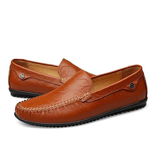 Scarpe On Uomo Eleganti Mocassini Loafers Chiaro Studio da Guida Slip Scarpe Comfort da Barca Casuale SK Piatte Marrone di Nero Pelle SxBgWqwx4a