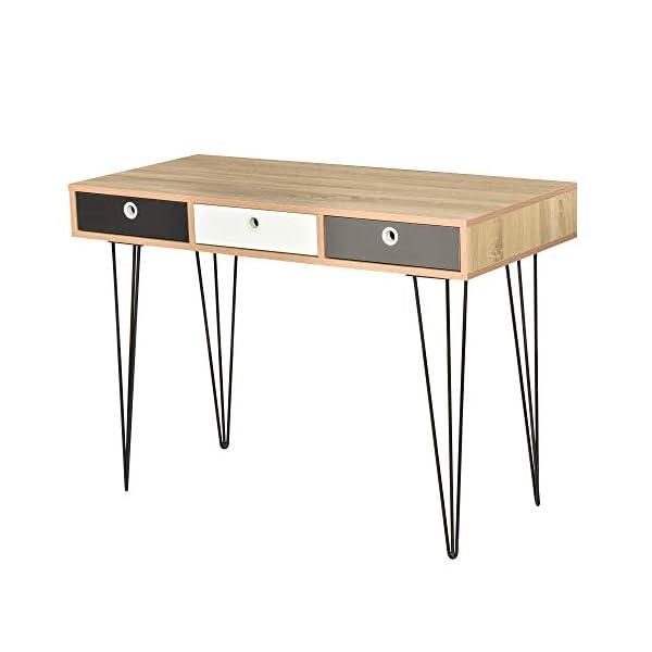 HOMCOM Table d'appoint Console Design scandinave 3 tiroirs tricolores Pieds épingles métal Noir Panneaux Particules…