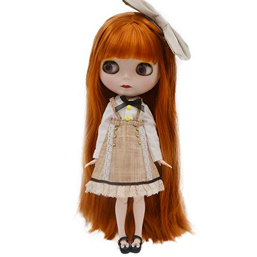 1/6 BJD Doll is Similar to Neo Blythe, 4-Color Changing Eyes Matte Face and Ball Jointed Body Dolls, 12 Inch Customized Dolls Can Changed Makeup and Dress DIY (Red)